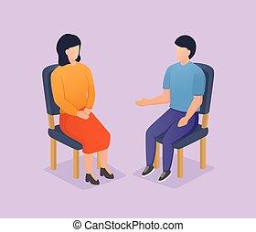 femme, moderne, partage, style, homme, discussion, chaise, séance, isométrique