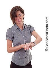femme, montre, pointage, patron