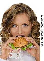 femme, mordre, hamburger, jeune, rur
