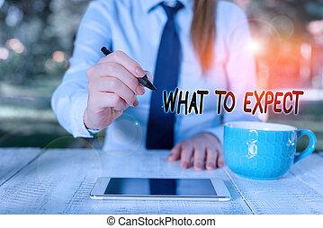 femme, mot, concept, quel, volonté, café, business, mobile, croyance, happen, écriture, expect., sur, confusion, séance, tasse, avenir, texte, téléphone., table