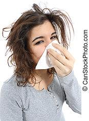 femme, mouchoir, grippe, haut, nez, fin