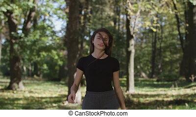 femme, mouvement, amusement, lent, dehors, avoir, heureux
