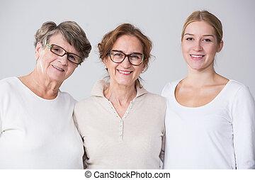 femme, multi, génération, portrait