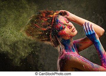 femme, muse, art corps, jeune, coiffure, créatif