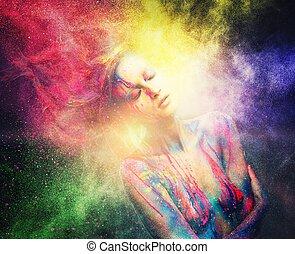 femme, muse, corps, coiffure, art, créatif, explosion, poudre, coloré
