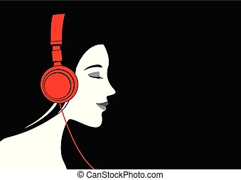 femme, musique écouter, casque