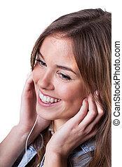 femme, musique écouter, heureux