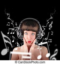 femme, musique, écouteurs