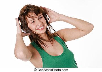 femme, musique, beauté, écoute