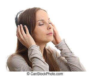 femme, musique, jeune, écoute, écouteurs