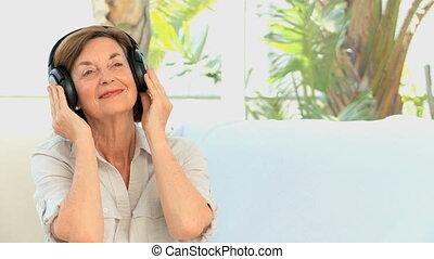 femme, musique, mûrir, écoute