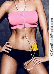 femme, musique, séduisant, écoute, fitness