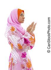 femme, musulman, prière, blanc, fond