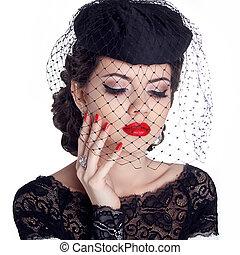 femme, nails., isolé, makeup., arrière-plan., lèvres, retro, portrait, polonais, chapeau blanc, rouges