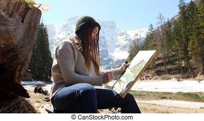 femme, nature, inspiré, jeune, dolomites., peinture, dessin