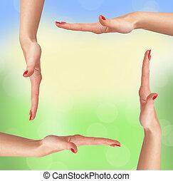 femme,  nature, sur, fond, mains, cadre