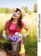 femme, nature, très, dépenser, temps, heureux