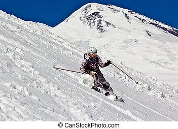 femme, neige, profond, skieur