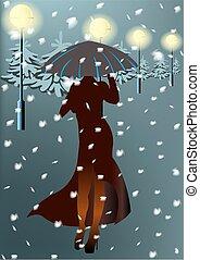 femme, neige