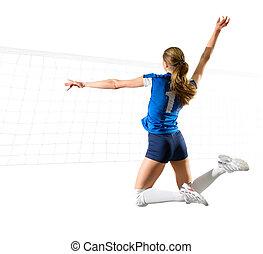 femme, net), isolé, voleyball, joueur, (ver