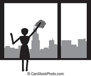 femme, nettoyage
