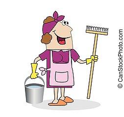femme, nettoyage, lavette