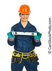 femme, niveau, constructeur, tenue, bulle, heureux