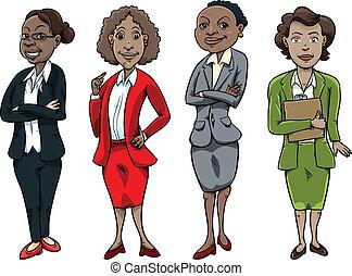 femme, noir, business