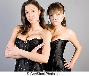femme, noir,  corset