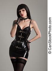 femme, noir, dominatrix, corset, fétiche