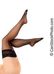 femme, noir, nylon, bas, sexy, jambes