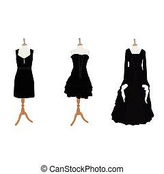femme, noir, robes