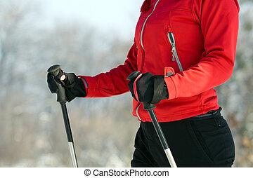 femme, nordique, marche, dans, hiver