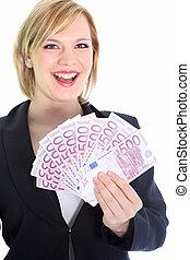 femme, notes, tenue, blond, sourire, 500, euro
