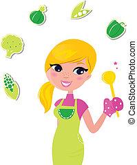 femme, nourriture, isolé, -, préparer, vert, sain, cuisine, v, blanc