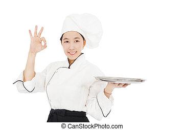 femme, nourriture, jeune chef, sourire, plateau, vide