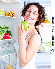 femme, nourriture, jeune, sain, réfrigérateur, beau