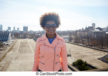 femme, nuances, rue américaine, africaine, heureux