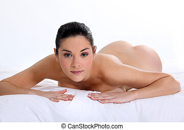 femme nue, mensonge, lit