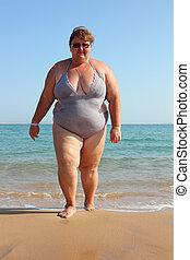 femme obèse, plage