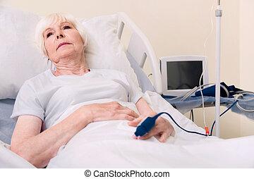 femme, obtenir, fragile, maladie, triste, mieux, vieilli, ...