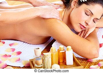 femme, obtenir, jeune, spa, salon., masage