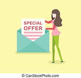 femme, offre, enveloppe, isolé, papier, spécial