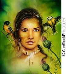 femme, oiseaux, jeune, enchanter, portrait, figure, beau
