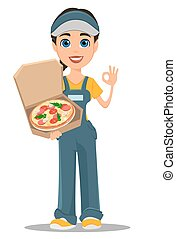 femme, ok, courrier, projection, chaud, savoureux, tenue, signe., pizza