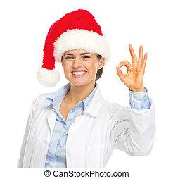 femme, ok, docteur, projection, santa chapeau, geste, heureux