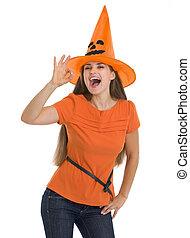 femme, ok, projection, halloween, jeune, chapeau, geste, heureux