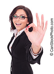 femme, ok, spectacles, affaires signent