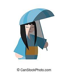 femme ombre, parapluie, japonaise, kimono