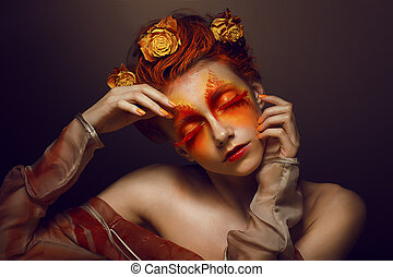 femme, or, bodyart., -, maquillage, imagination., flowers., coloration, artistique, rouges